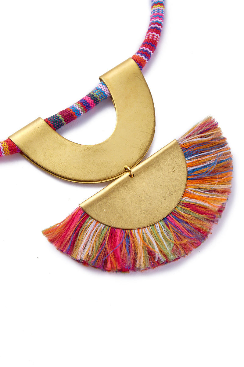 SANDY HYUN Rainbow Tassel Pendant Necklace Jewelry | Sandy Hyun Rainbow Necklace Close Up View