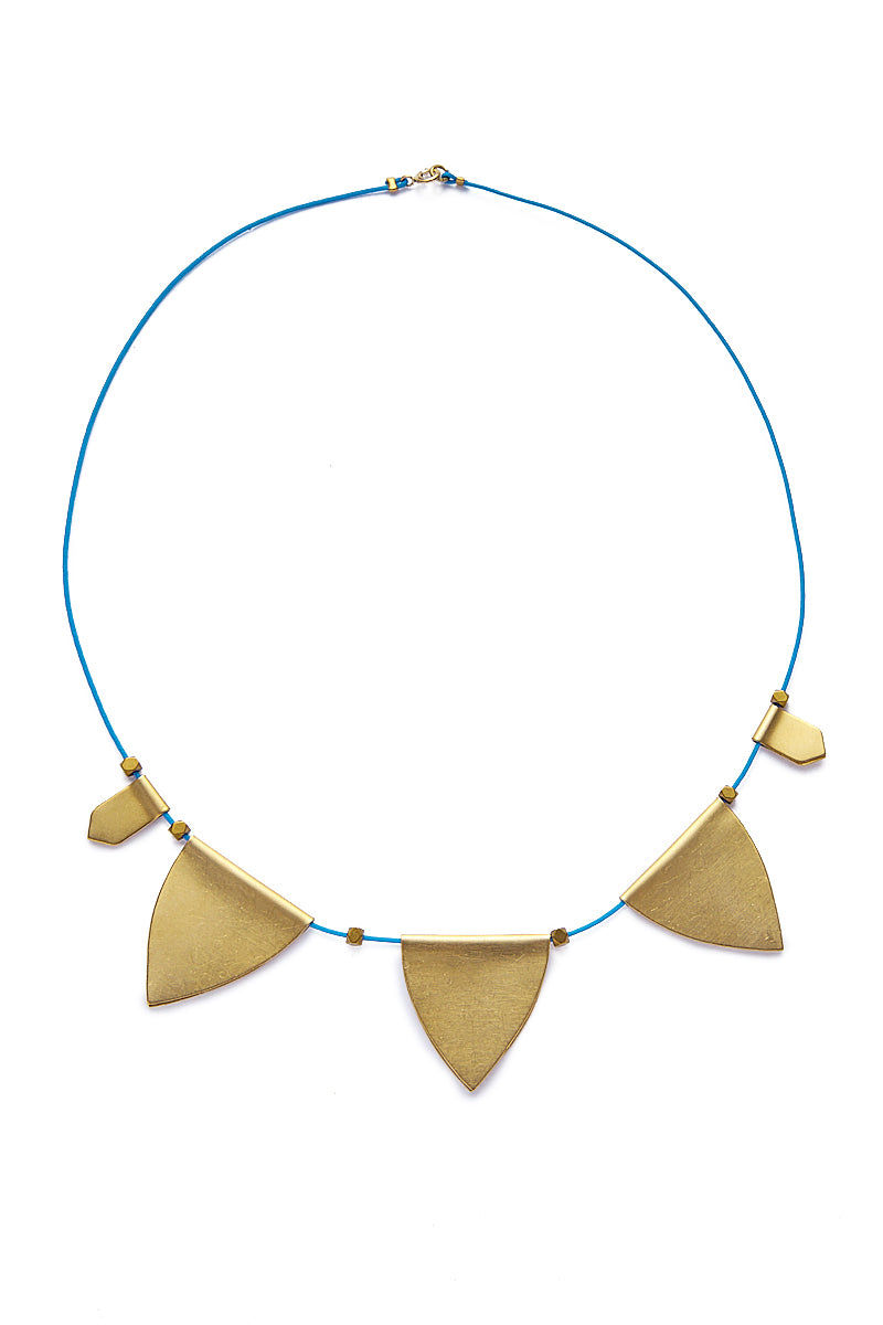 SANDY HYUN String Charm Choker Necklace - Blue/Gold Jewelry | Blue/Gold| Sandy Hyun String Necklace Full View