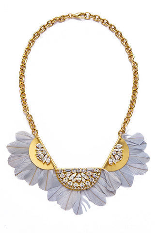 SANDY HYUN Feather Necklace Jewelry | Grey/ Gold| Sandy Hyun Feather Necklace