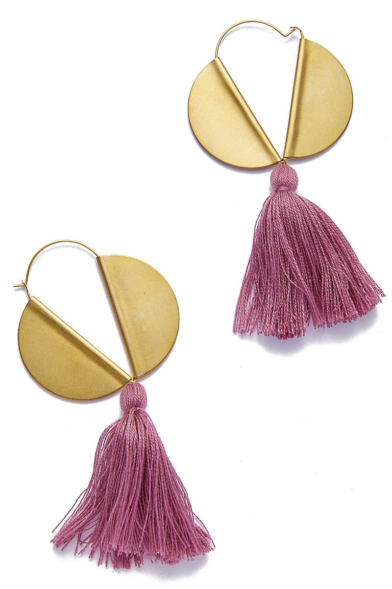 SANDY HYUN Winged Hoop Earrings - Plum Tassel Jewelry | Sandy Hyun Lavender Tassel Earrings