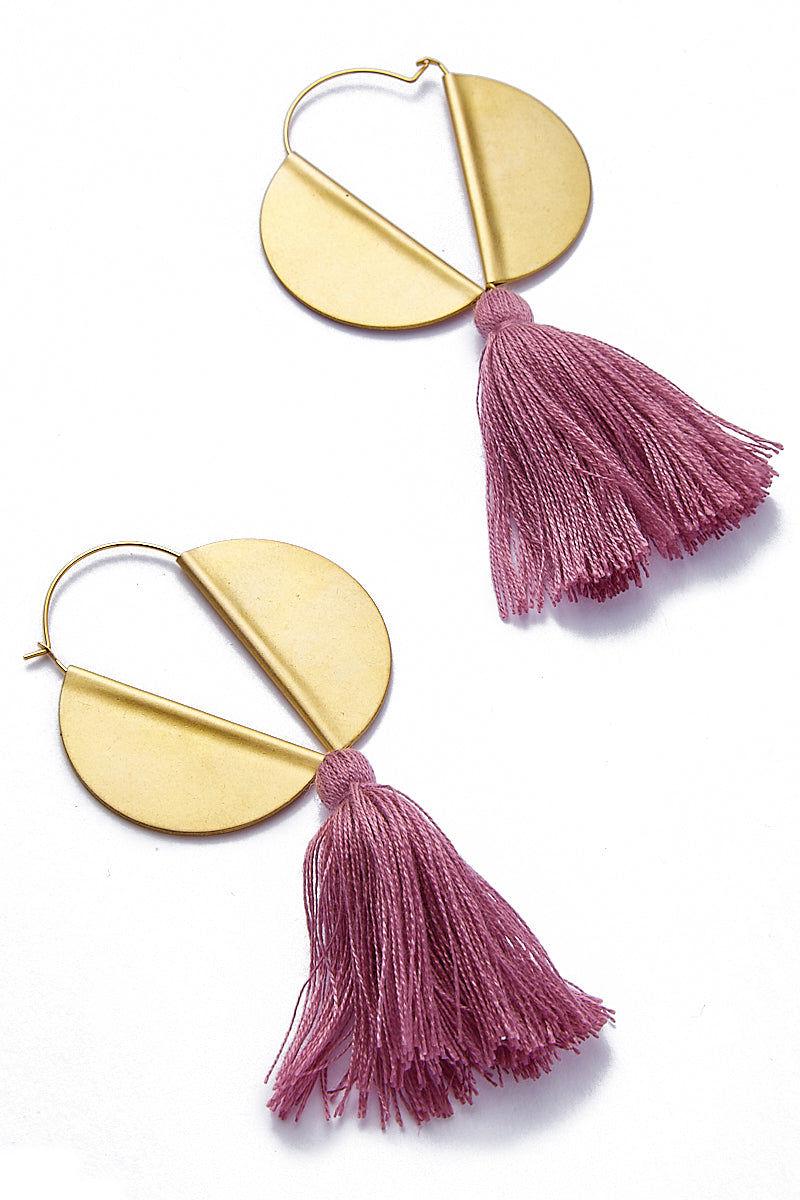 SANDY HYUN Winged Hoop Earrings - Plum Tassel Jewelry | Sandy Hyun Lavender Tassel Earrings