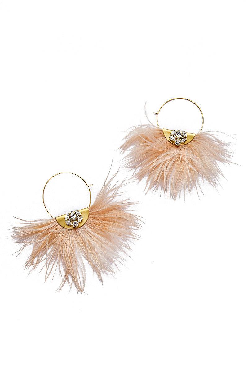 SANDY HYUN Feather Earrings Jewelry | Pink/ Gold| Sandy Hyun Feather Earrings