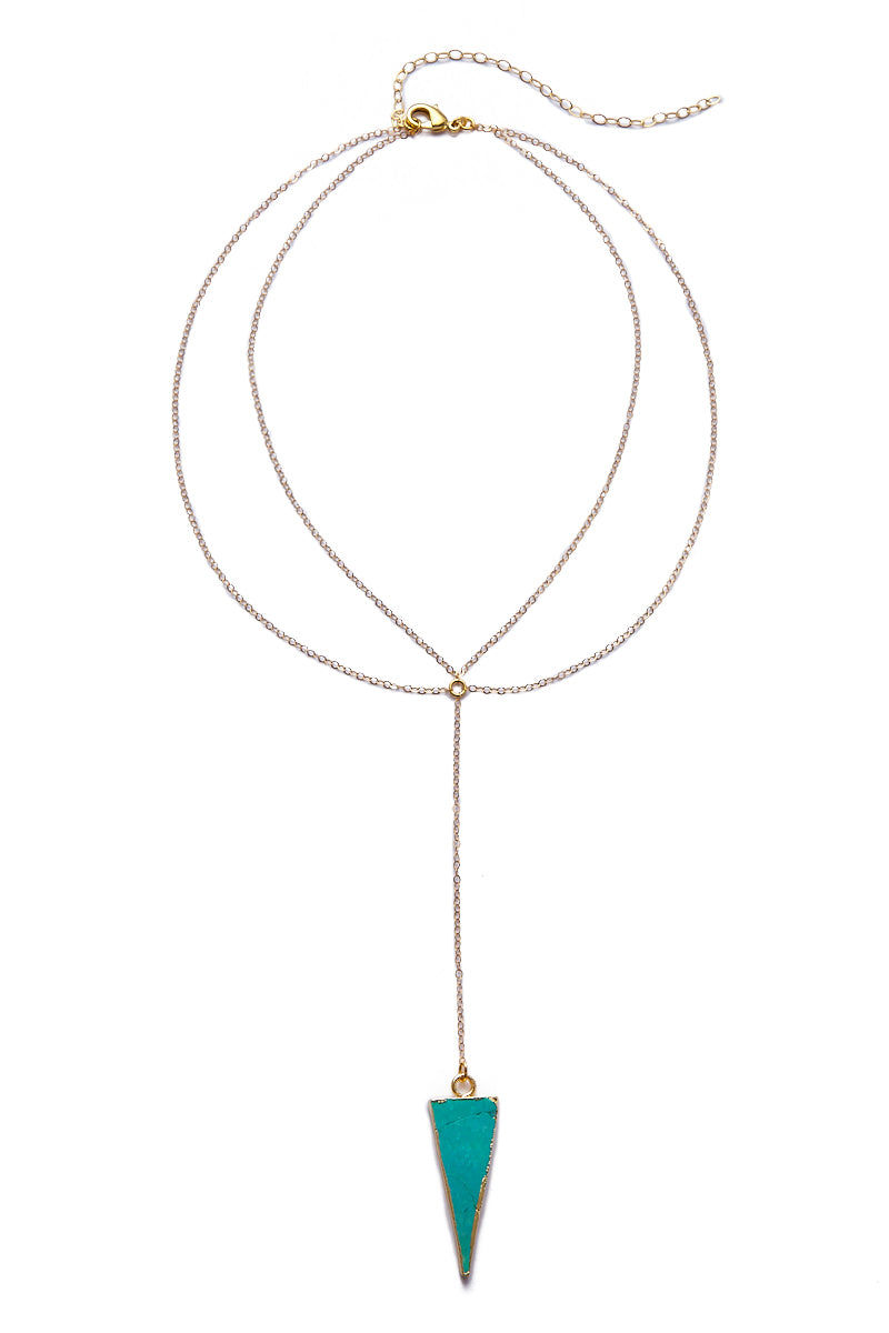 TOASTED Gold Wahi Necklace Jewelry | Gold/ Turquoise | Toasted Gold Wahi Necklace Flat Lay View Turquoise Triangle Pendant  14k Gold Filled Chain  Gold Plated  Lobster Clasp & Jump Rings 100% Handmade  Made in the USA