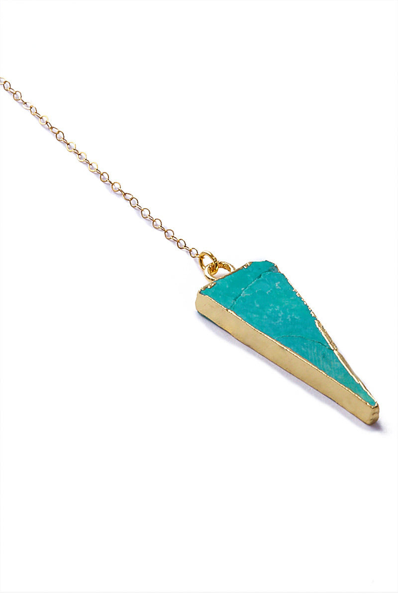 TOASTED Gold Wahi Necklace Jewelry | Gold/ Turquoise | Toasted Gold Wahi Necklace Close Up Angled View Turquoise Triangle Pendant  14k Gold Filled Chain  Gold Plated  Lobster Clasp & Jump Rings 100% Handmade  Made in the USA