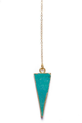 TOASTED Gold Wahi Necklace Jewelry | Gold/ Turquoise | Toasted Gold Wahi Necklace Flat Lay Close Up View Turquoise Triangle Pendant  14k Gold Filled Chain  Gold Plated  Lobster Clasp & Jump Rings 100% Handmade  Made in the USA