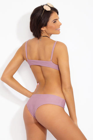 TORI PRAVER Daniela Top Bikini Top | Mauve| Tori Praver Daniela Bikini Top in pale purple ribbed textured fabric