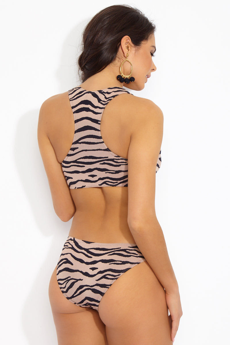 PRISM Punta Low Rise Bikini Bottom - Tiger Print Bikini Bottom | Tiger Print| Prism Punta Bikini Bottom Back View Full Coverage Low Rise