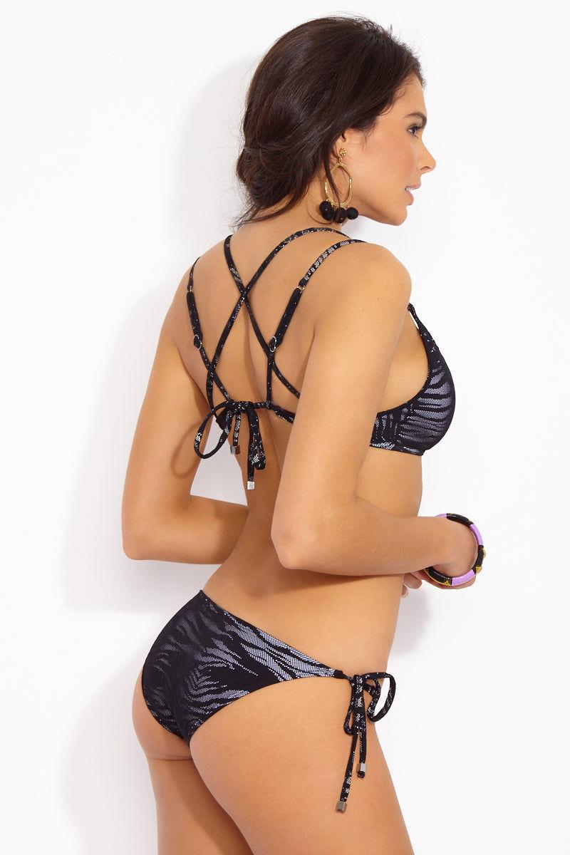 PRISM Patmos Strappy Bralette Bikini Top - Zebra Mesh Bikini Top |  Zebra Mesh| Prism Patmos Bikini Top  Back Side View  Zebra Mesh Strappy Top Soft Triangle Cups Adjustable Tie Straps