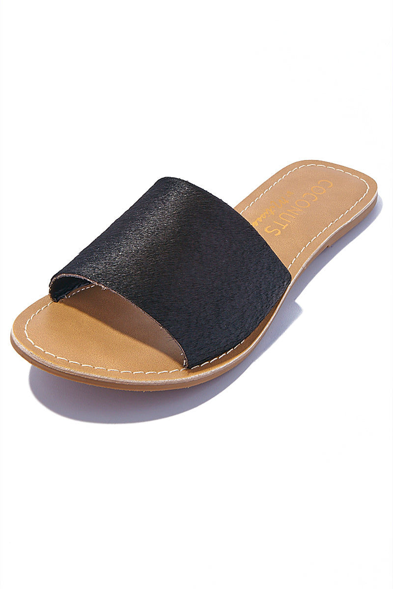 MATISSE Black Cabana Sandals Sandals | | Matisse Black Cabana Sandals Slides Upper: Leather / Suede / Black Cow Hair   Outsole: Man Made Synthetic Leather Lining   Padded Insole