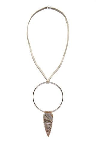 WANDERLUST FASHION Oversized Arrowhead Hoop Necklace Jewelry | Oversized Arrowhead Hoop Necklace