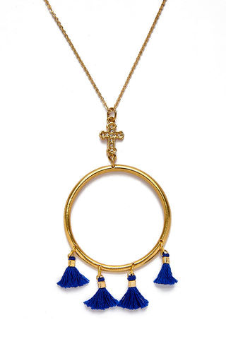"VANESSA MOONEY The Demi Tassel & Cross Hoop Necklace Jewelry | Gold| Vanessa Mooney The Demi Tassel & Cross Hoop Necklace Gold Plated Cross and Hoop Necklace With Four Indigo Blue Demi Tassels 10.5"" Length"