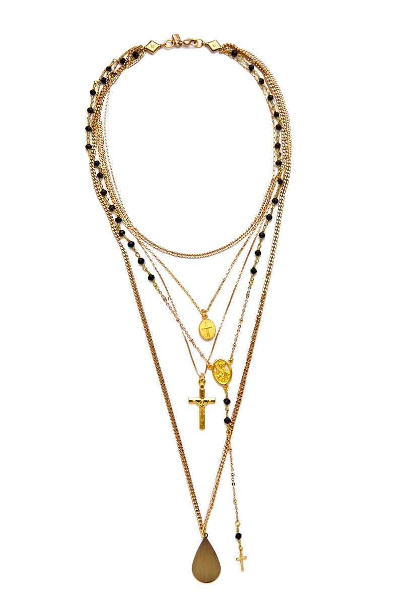 """VANESSA MOONEY The Gold Vera Layered Rosary & Cross Necklace Jewelry 