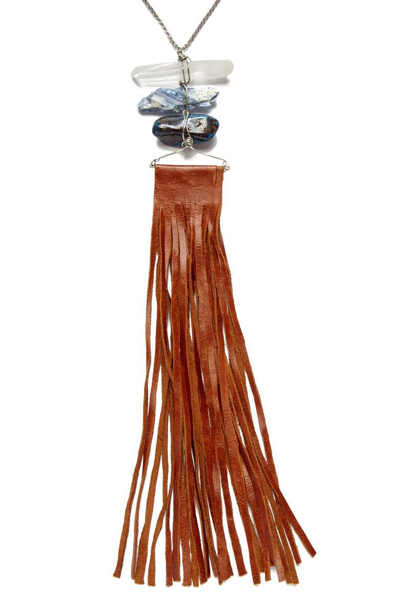 WANDERLUST FASHION Triple Stone Leather Fringe Necklace Jewelry | Triple Stone Leather Fringe Necklace