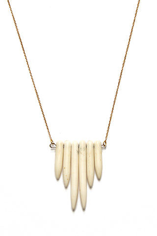 WANDERLUST FASHION Amazonite Bone Spike Necklace - Gold Jewelry | Wanderlust Fashion Amazonite Bone Spike Necklace