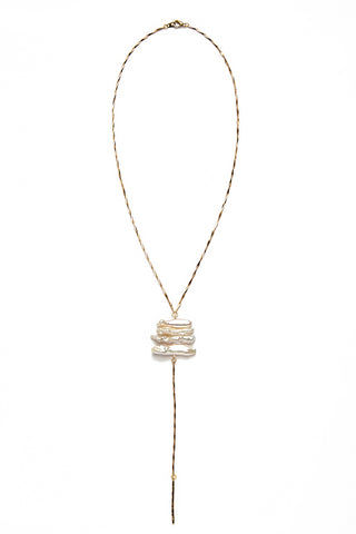 WANDERLUST FASHION Pearl Stick Lariat Necklace Jewelry | Pearl Stick Lariat Necklace