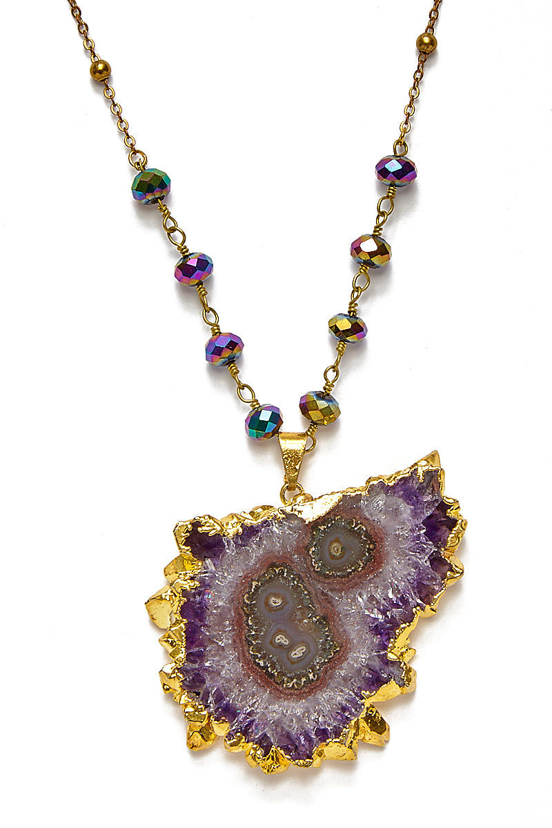 WANDERLUST FASHION Amethyst Stalactite Necklace - Rainbow Pyrite Chain Jewelry | Wanderlust Fashion Amethyst Stalactite Necklace -Rainbow Pyrite Chain