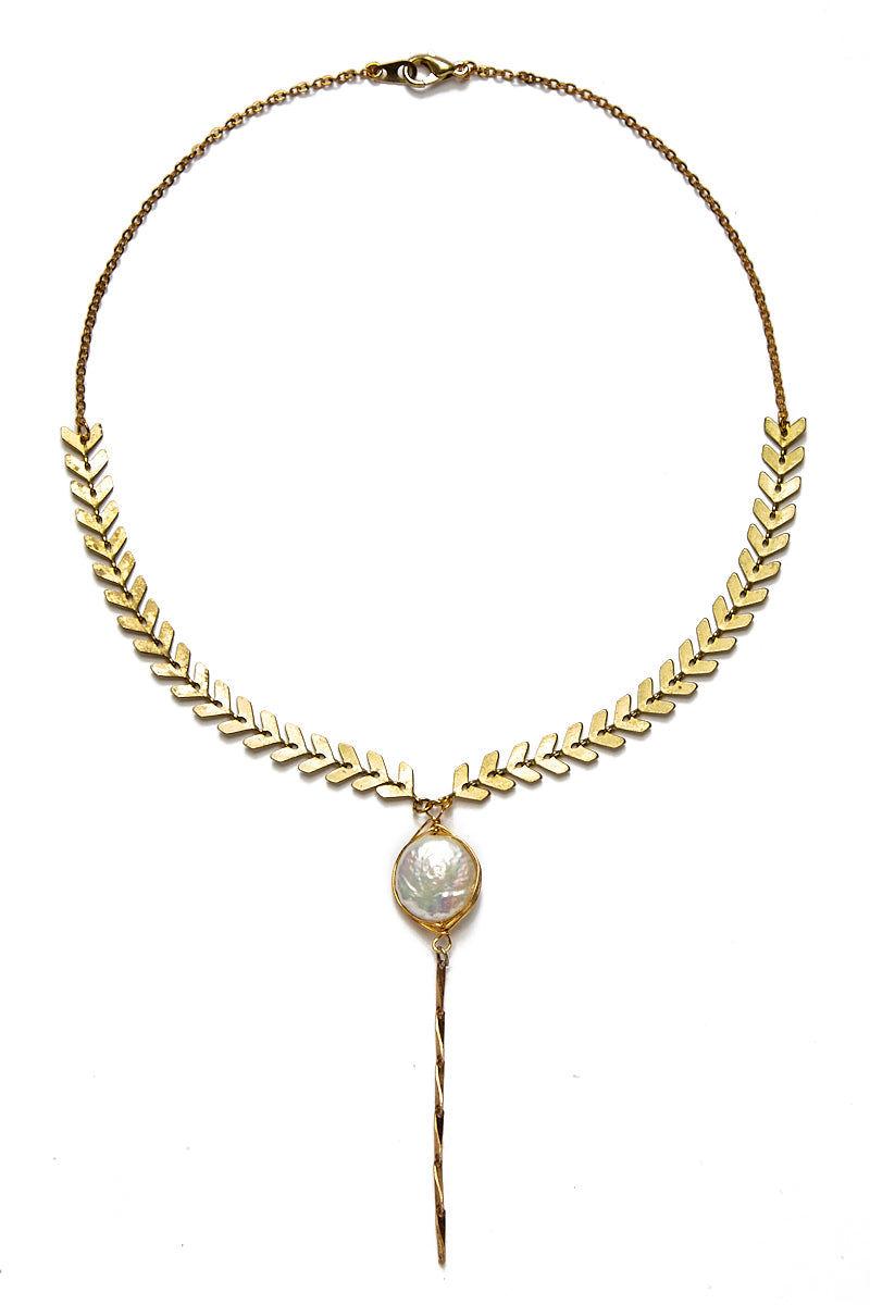 WANDERLUST FASHION Pearl Drop Lariat Choker Jewelry   Pearl Drop Lariat Choker