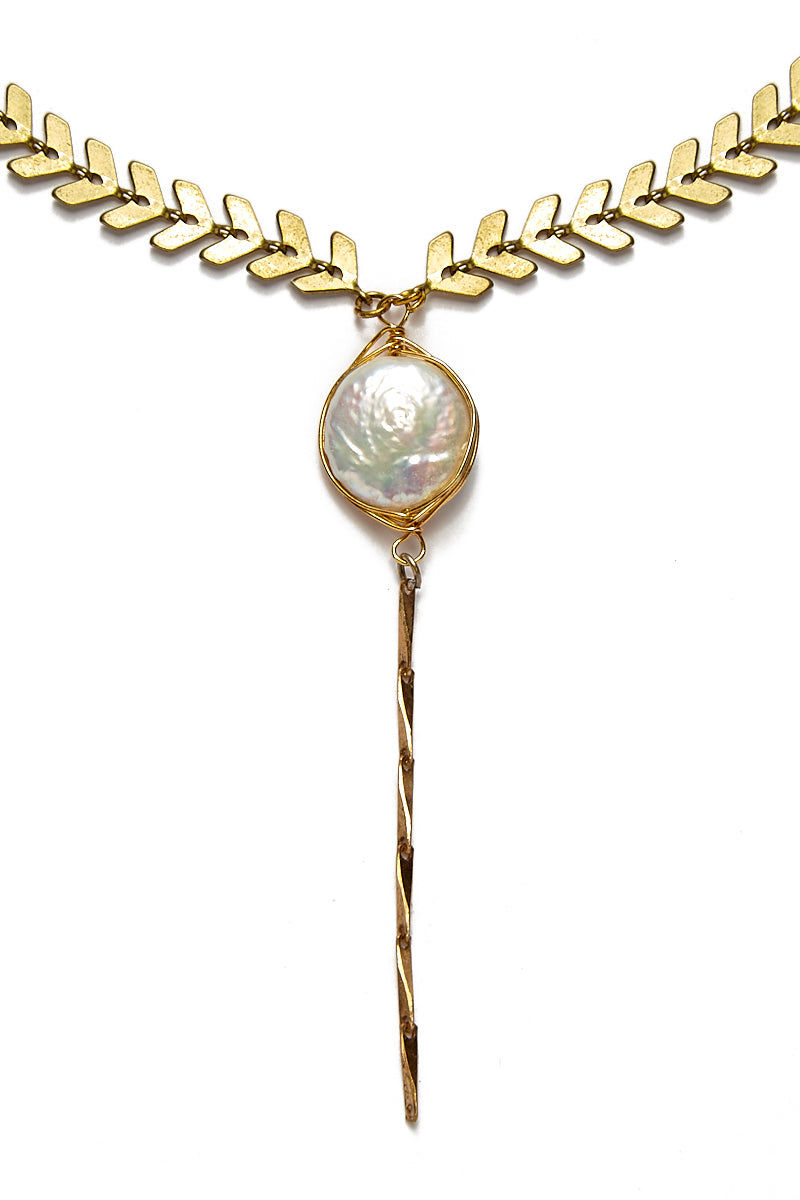 WANDERLUST FASHION Pearl Drop Lariat Choker Jewelry | Pearl Drop Lariat Choker