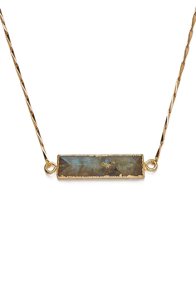 WANDERLUST FASHION Labradorite Bar Necklace Jewelry | Labradorite Bar Necklace