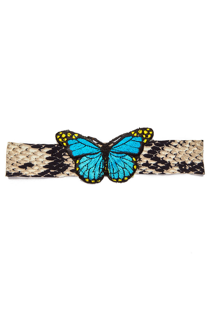 WANDERLUST FASHION Python Patchwork Choker - Blue Jewelry | Python Patchwork Choker - Blue
