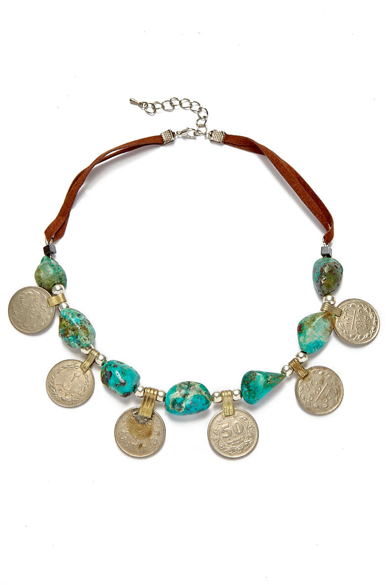 WANDERLUST FASHION Turquoise Tribal Coin Choker Jewelry | Turquoise Tribal Coin Choker