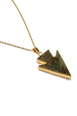 WANDERLUST FASHION Labradorite Arrowhead Necklace Jewelry | Labradorite Arrowhead Necklace