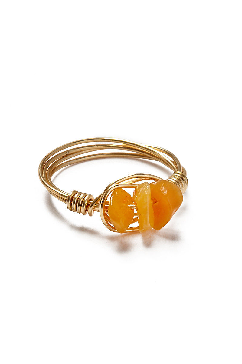 WANDERLUST FASHION Wire Wrapped Stone Rings - Triple Orange Stones Jewelry | Wanderlust Fashion Wire Wrapped Stone Rings - Triple Orange Stones