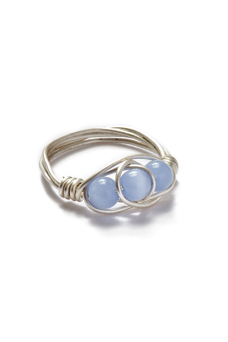 WANDERLUST FASHION Wire Wrapped Stone Rings - Triple Blue Beads Jewelry | | Wanderlust Fashion Wire Wrapped Stone Rings - Triple Blue Beads