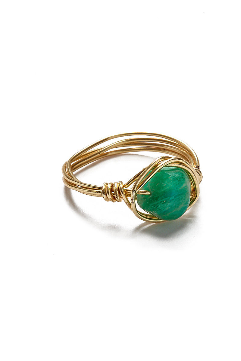 WANDERLUST FASHION Wire Wrapped Stone Rings - Chrysoprase Jewelry   Wanderlust Fashion Wire Wrapped Stone Rings - Chrysoprase