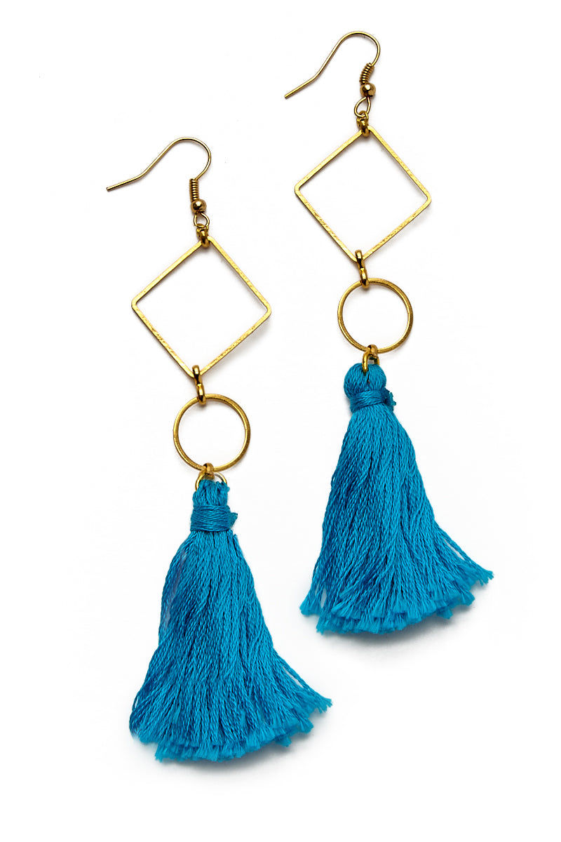 WANDERLUST FASHION Blue Geometrical Tassel Earrings Jewelry | Blue Geometrical Tassel Earrings