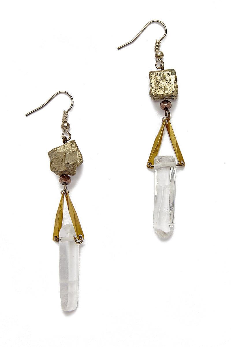 WANDERLUST FASHION Pyrite Quartz Earrings Jewelry | Pyrite Quartz Earrings