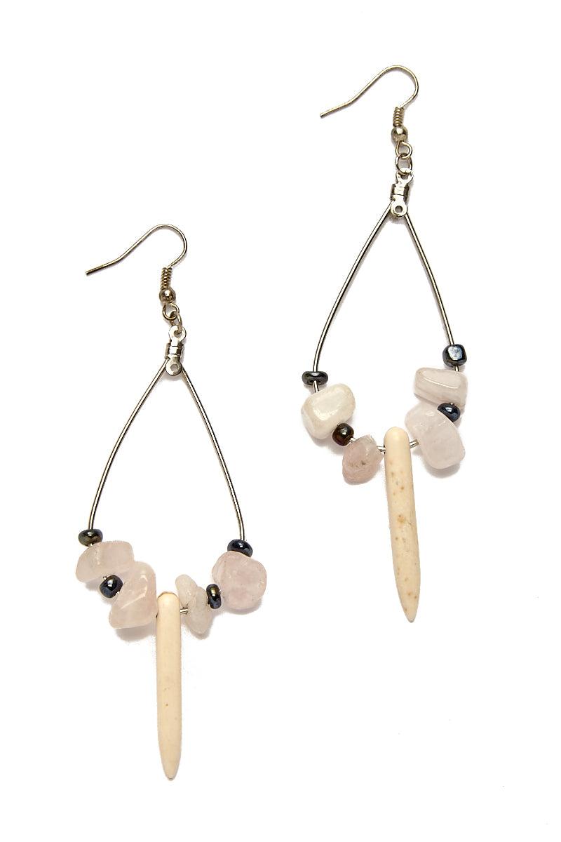 WANDERLUST FASHION Rose Quartz Spike Earrings Jewelry | Rose Quartz Spike Earrings
