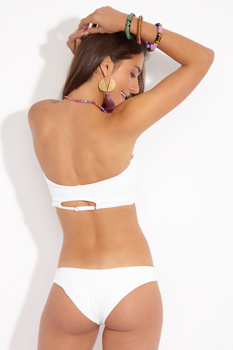 MGS Maria Cheeky Bottom - White Rib Bikini Bottom | White Rib| Maria Cheeky Bottom Back View