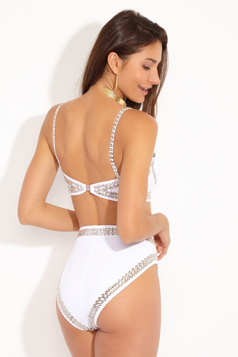NORMA KAMALI Stud High Waist Bikini Bottom - White Bikini Bottom   White  Norma Kamali Stud High Waist Bikini Bottom - White high-waisted stud underwire bottom