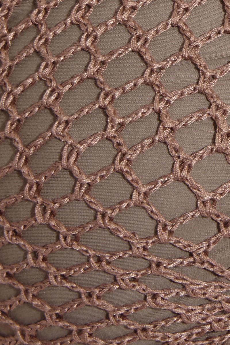 ACACIA Lei High Neck Top - Cement Bikini Top | Cement| Acacia Lei High Neck Top - Cement Swatch View High Neck Bikini Top  Ties at Neck  Lace Up Front  Lace Up Back Detail  Crochet Overlay Fabric