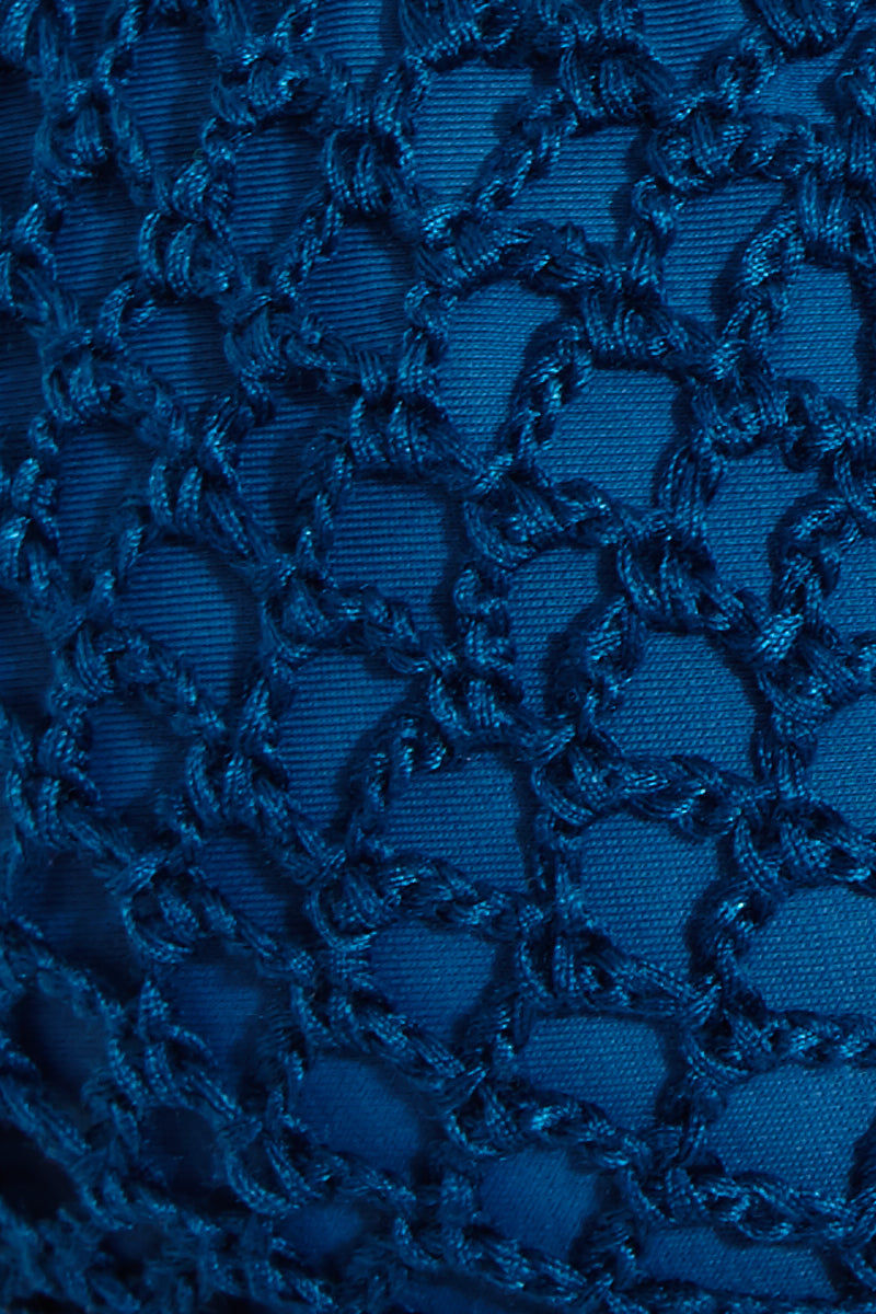 ACACIA Humuhumu Triangle Bikini Top - Salt Water Bikini Top | Salt Water| Acacia Humuhumu Triangle Bikini Top - Salt Water Front View Triangle bikini top in deep sea blue fabric. Crochet overlay. Adjustable ties at neck and back. Double lined in Acacia's signature snakeskin print fabric. View: Detailed View.