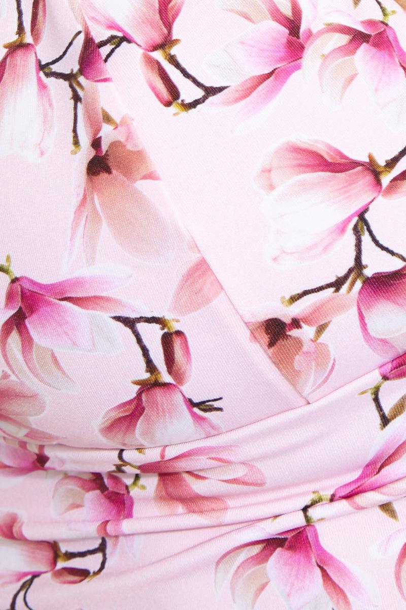 FRANKIES BIKINIS Lala Top - Sakura Bikini Top | Sakura| Lala Top Detail View Crop Top Style Bikini Top V-Neck Wide Underbust Band Thin Adjustable Shoulder Straps Lace-Up Strappy Back