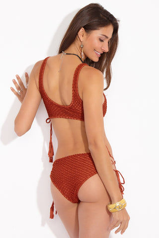 ACACIA Murray Crochet Mid Rise Bikini Bottom - Mai Tai Burnt Orange Bikini Bottom | Mai Tai Burnt Orange| Acacia Murray Crochet Mid Rise Bikini Bottom - Mai Tai Burnt Orange  Back View Mid Rise Bottom Mid-rise red-orange-brown bikini bottom. Crochet overlay. Adjustable tie sides. Cheeky to moderate coverage. Back View
