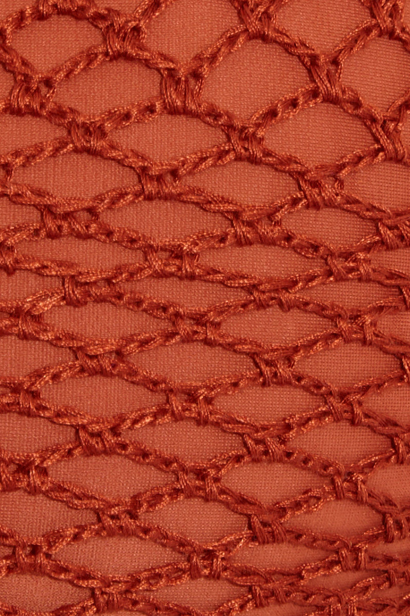 ACACIA Hunter Lace Up Sides Bikini Top - Mai Tai Bikini Top | Mai Tai| Acacia Hunter Lace Up Sides Top - Mai Tai Swatch View  Bralette Top  Thick Shoulder Straps  Lace Up Side Detail  Crochet Fabric Scoop neckline Rust colored fabric. View: Detail View.