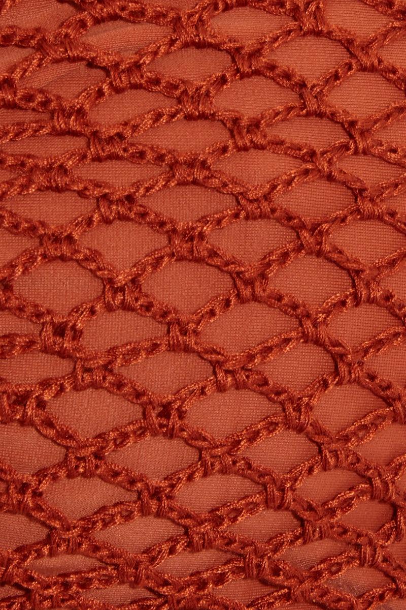 ACACIA Como Bandeau Bikini Top - Mai Tai Bikini Top | Mai Tai| Acacia Como Bandeau Top - Mai Tai Swatch View Bandeau Bikini Top  Lace Up Front & Back Detail  Crochet Overlay  Adjustable Back