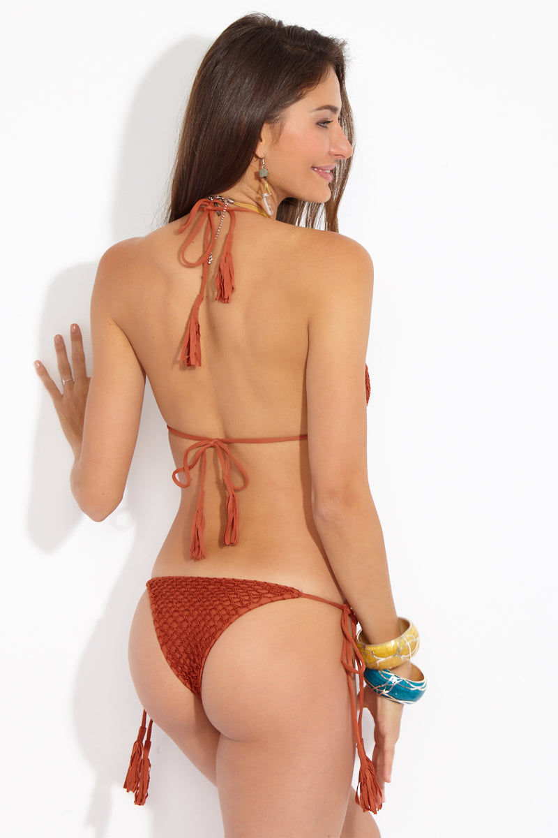 ACACIA Polihale Crochet Tie Side Bikini Bottom -  Mai Tai Bikini Bottom | Mai Tai| Acacia Polihale Tie Side Bottom -  Mai Tai Back View
