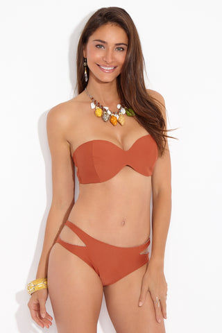 ACACIA Kawa Side Cut Outs Bikini Bottom - Mai Tai Burnt Orange Bikini Bottom | Mai Tai Burnt Orange| Acacia Kawa Side Cut Outs Bottom - Mai Tai Burnt Orange  Mid Rise Bottom  Side Cut Outs  Moderate-Full Coverage Front View