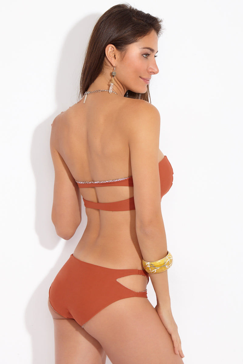 ACACIA Kawa Side Cut Outs Bikini Bottom - Mai Tai Burnt Orange Bikini Bottom | Mai Tai Burnt Orange| Acacia Kawa Side Cut Outs Bottom - Mai Tai Burnt Orange Back View Mid Rise Bottom  Side Cut Outs  Moderate-Full Coverage