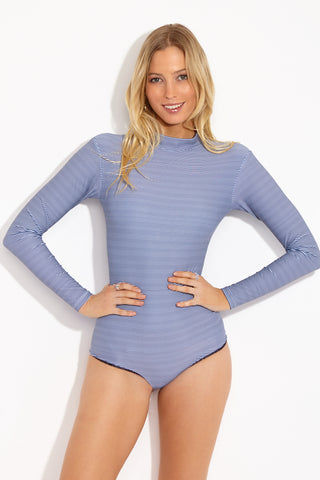 ACACIA Ehukai Longsleeve One Piece Swimsuit - Long Island One Piece | Long Island| Acacia Ehukai Longsleeve One Piece Swimsuit - Long Island. Features: Nautical one piece swimsuit with long sleeves and a high neck. Dark blue and cream thin horizontal stripes gives this one piece swimsuit a nautical feel.  View: Front View.