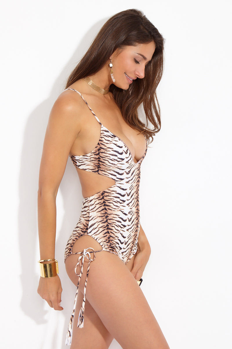 ACACIA Greece Cut Out One Piece - Tiger One Piece | Tiger| Acacia Greece Cut Out One Piece - Tiger Side View Plunging Neckline One Piece  Side Cut Outs  Thick Back Strap Spaghetti Straps  Tie Side Detail  Moderate Coverage