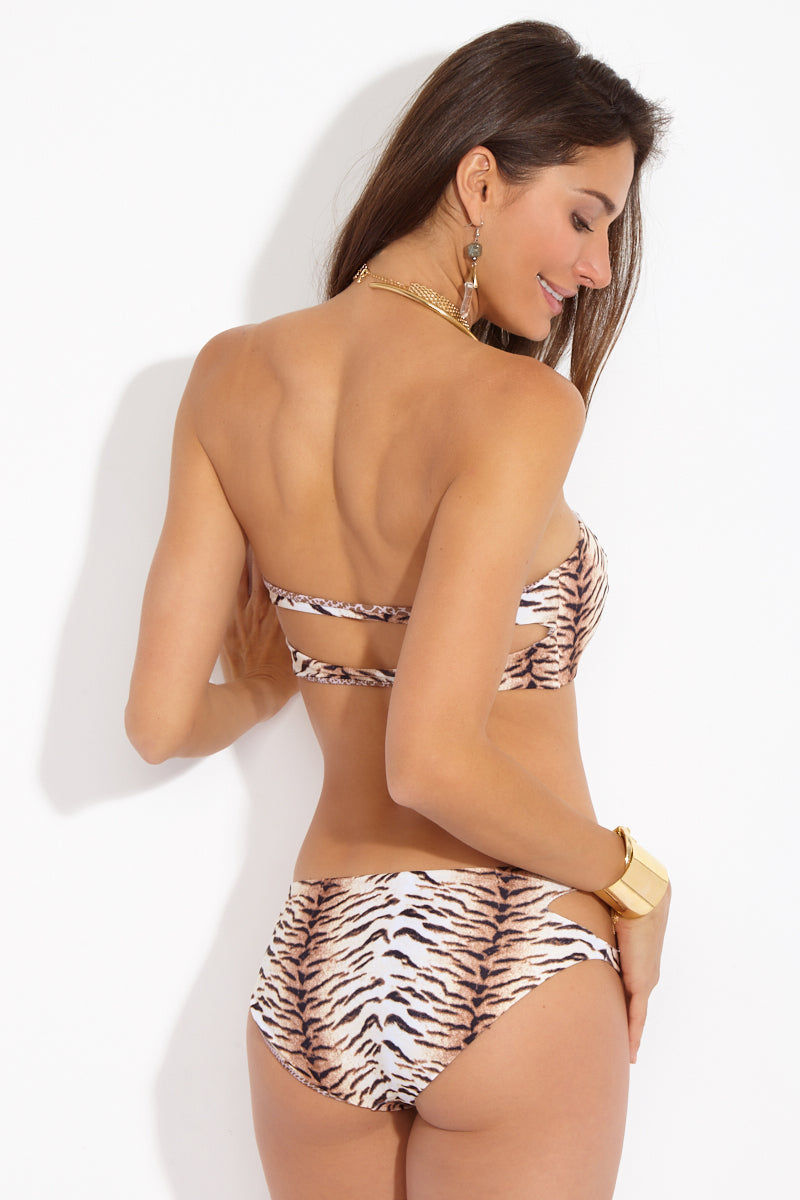 ACACIA Coconut Bandeau Bikini Top - Tiger Animal Print Bikini Top | Tiger Animal Print| Acacia Coconut Bandeau Bikini Top - Coconut Bandeau Bikini Top - Tiger Animal Print  Bandeau Bikini Top Slightly Padded  Structured  Double Back Straps Back View