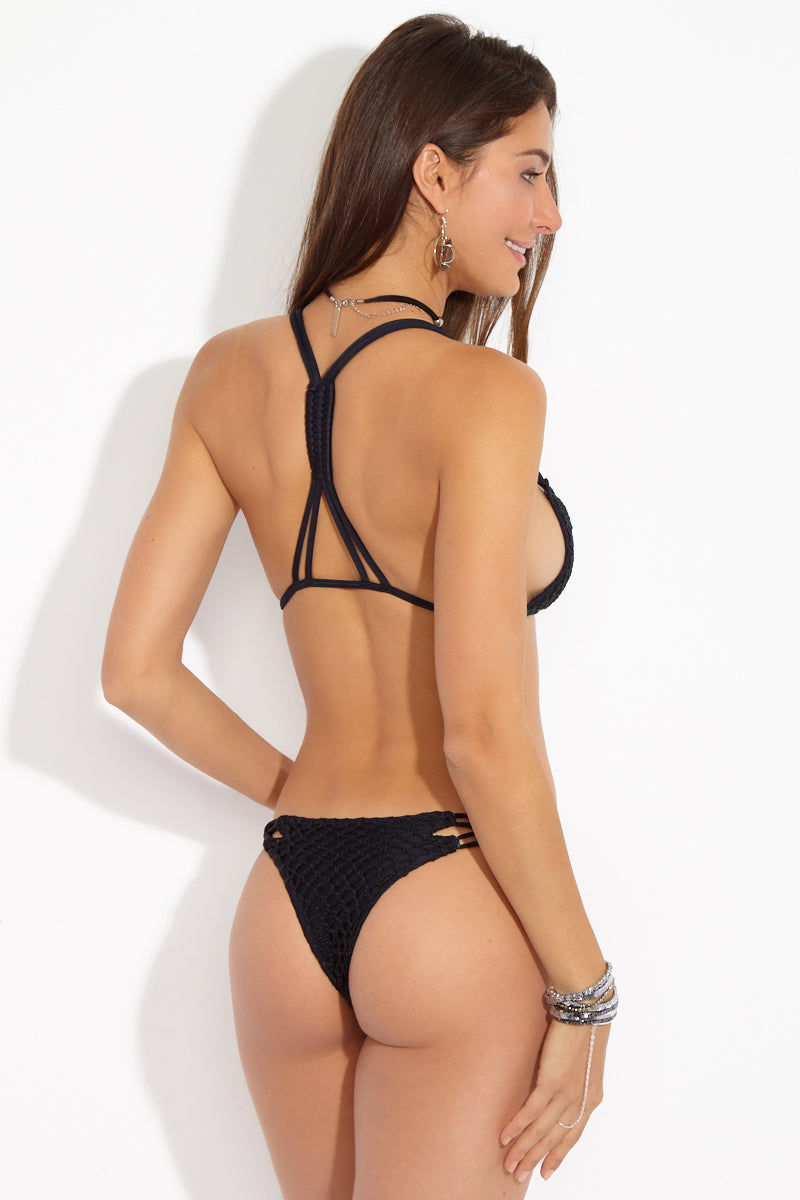 ACACIA Molokini Crochet Strappy Low Rise Bikini Bottom - Black Beauty Bikini Bottom | Black Beauty| Acacia Molokini Crochet Strappy Low Rise Bikini Bottom - Black Beauty Strappy side detail crochet detail thong coverage Back View