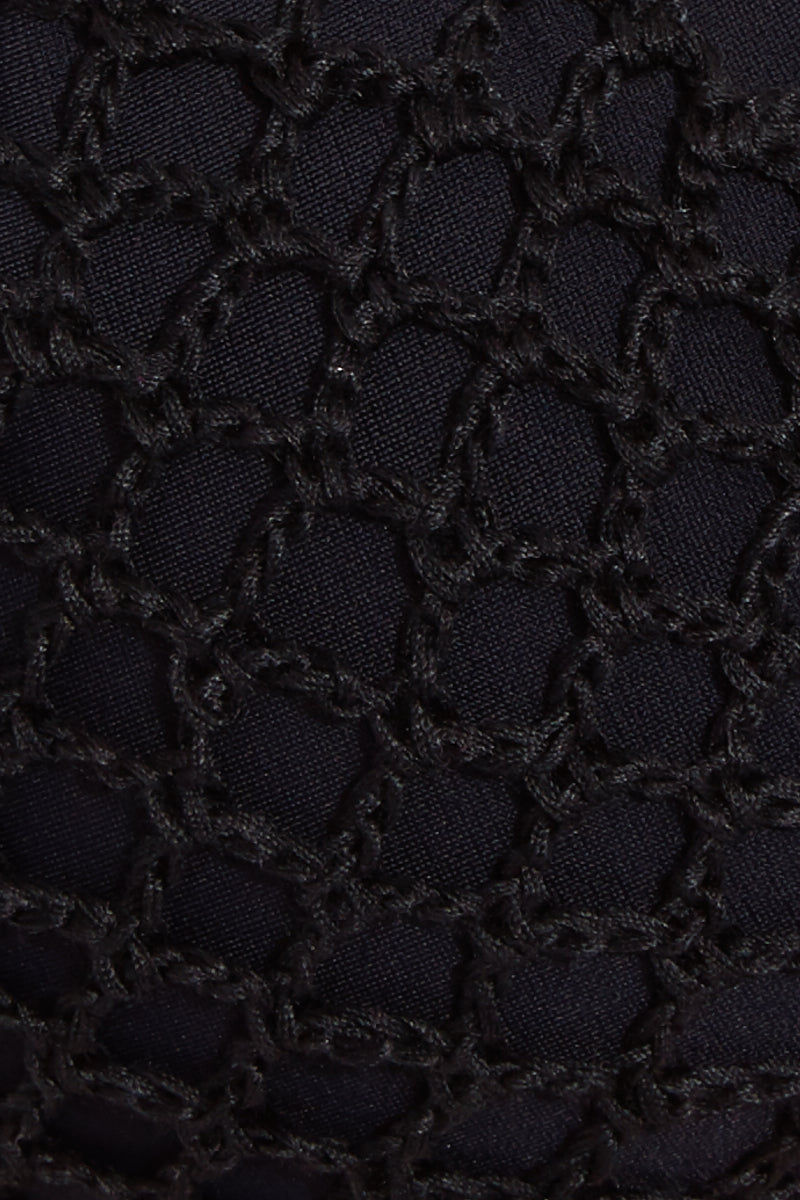 ACACIA Molokini Crochet Strappy Low Rise Bikini Bottom - Black Beauty Bikini Bottom | Black Beauty| Acacia Molokini Crochet Strappy Low Rise Bikini Bottom - Black Beauty Strappy side detail crochet detail thong coverage Front View