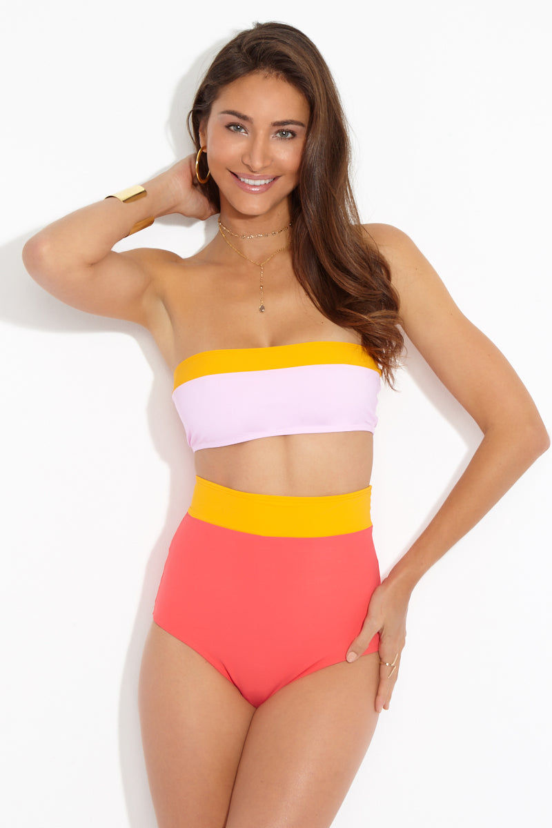 FLAGPOLE Lori Bandeau Top - Strawberry/Tangerine/Rose Bikini Top | Strawberry/Tangerine/Rose| Flagpole Lori Bandeau Top front view Strapless bandeau bikini top. Color blocked in tangerine citrus and light pink rosé. Pullover design. Fully lined in microfiber fabric. SPF 50.