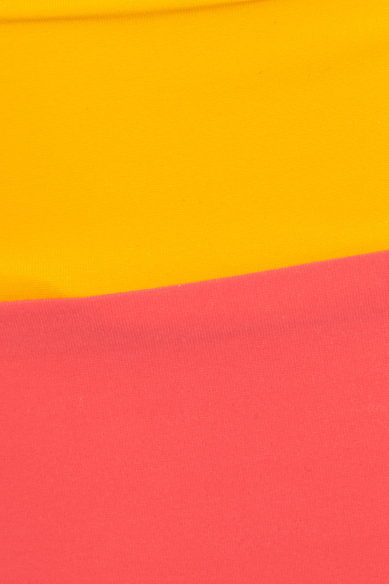 FLAGPOLE Arden High Waist Bottom - Strawberry/Tangerine/Rose Bikini Bottom | Strawberry/Tangerine/Rose|Flagpole Arden High Waist Bottom Detail High-waisted bikini bottom with color blocking. Color blocked in tangerine yellow and strawberry red. Wide waistband. Moderate coverage.